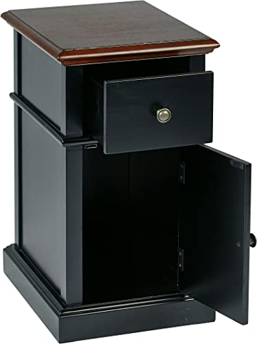 Office Star Oxford Solid Wood and Veneer Side Table, Black Body with Cherry Top