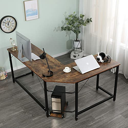 Modern L-Shaped Desk Corner Computer Desk PC Laptop Gaming Table Study Desk Home Office Wood Metal Study Workstation Desk