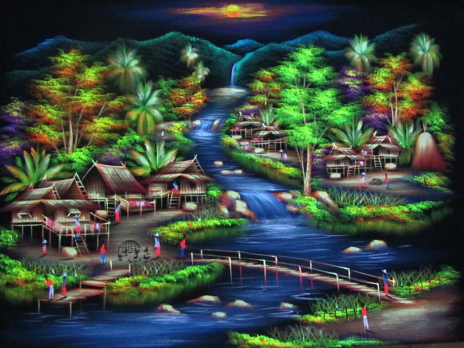 Blue Orchid Hand Painted Thai Village Scene Wall Art Blacklight Painting on Black Velvet Canvas Unframed 39'' x 27''