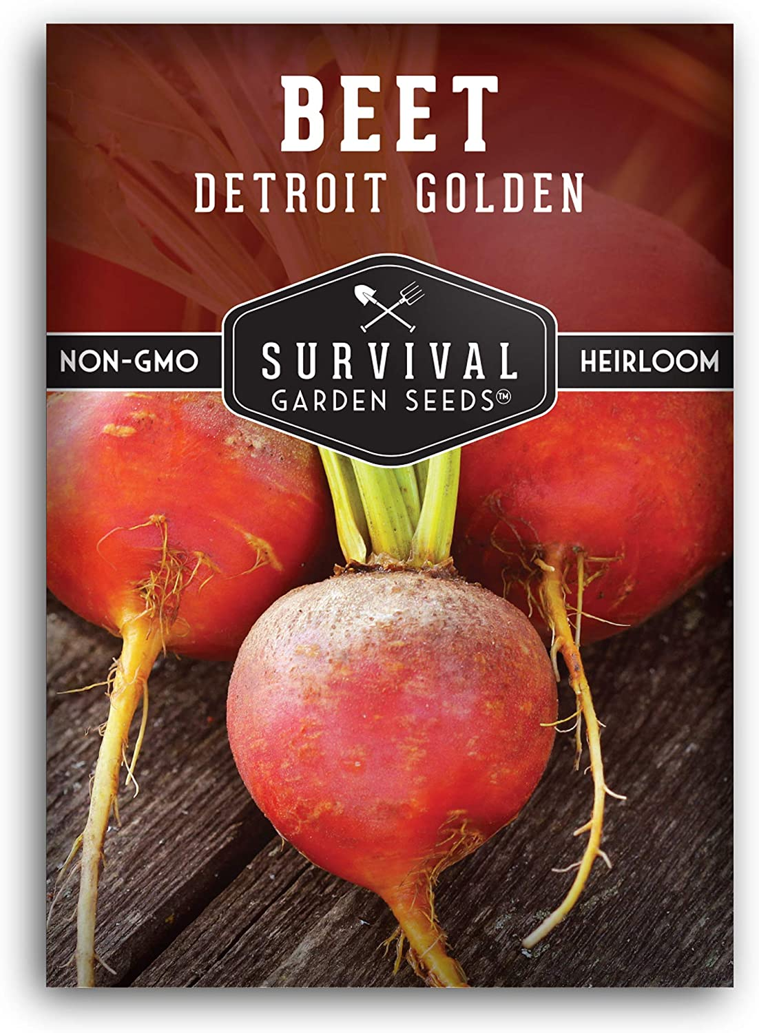 Survival Garden Seeds - Detroit Golden Beet Seed for Planting - Packet with Instructions to Plant and Grow in Your Home Vegetable Garden - Non-GMO Heirloom Variety