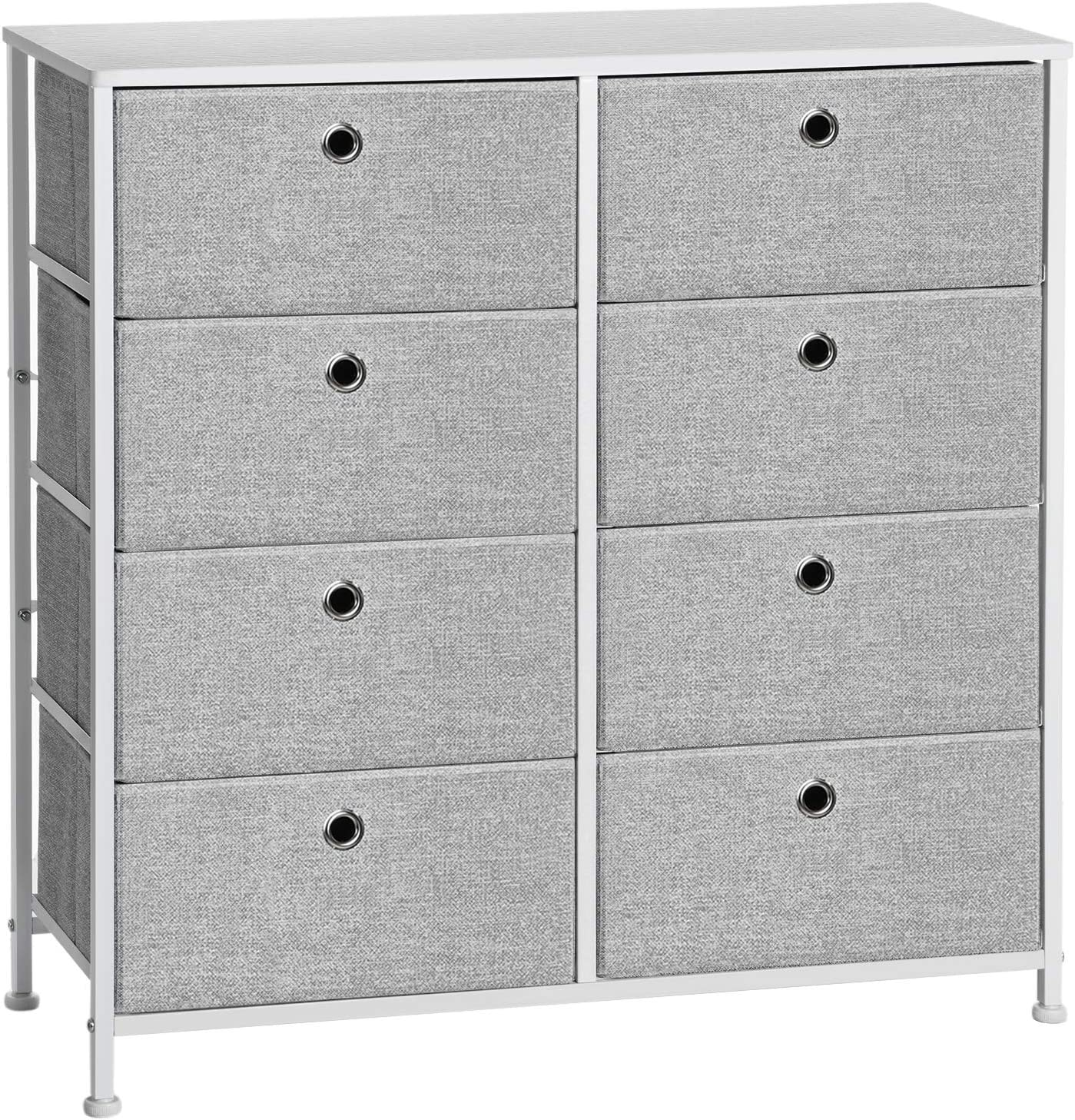 SONGMICS 4-Tier, Storage Dresser with 8 Easy Pull Fabric Drawers and Wooden Tabletop for Closets, Nursery, Dorm Room, Light Grey and White ULTS24W