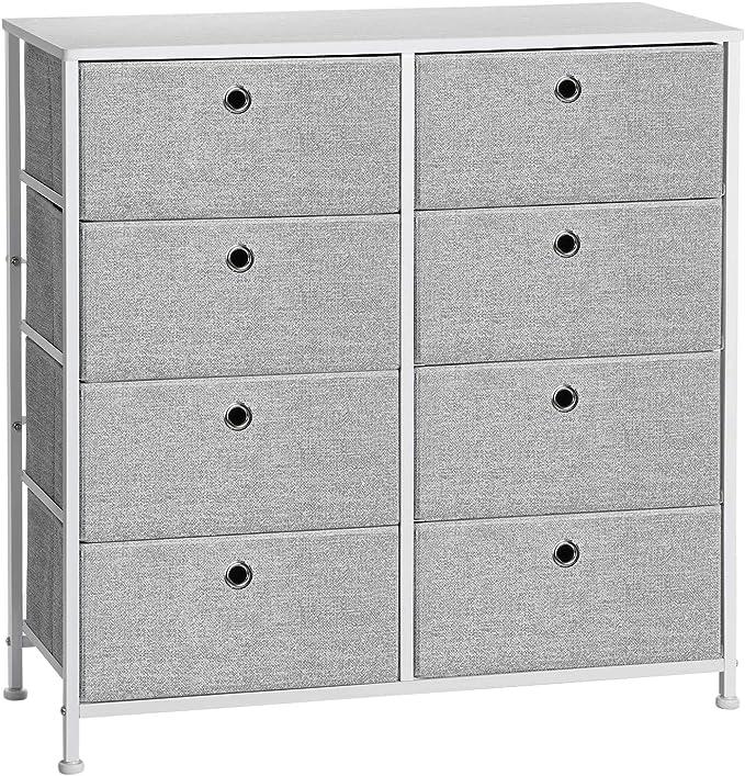 SONGMICS 4 – Tier Storage Dresser Light Gray & White ULTS24W - Modern nightstands