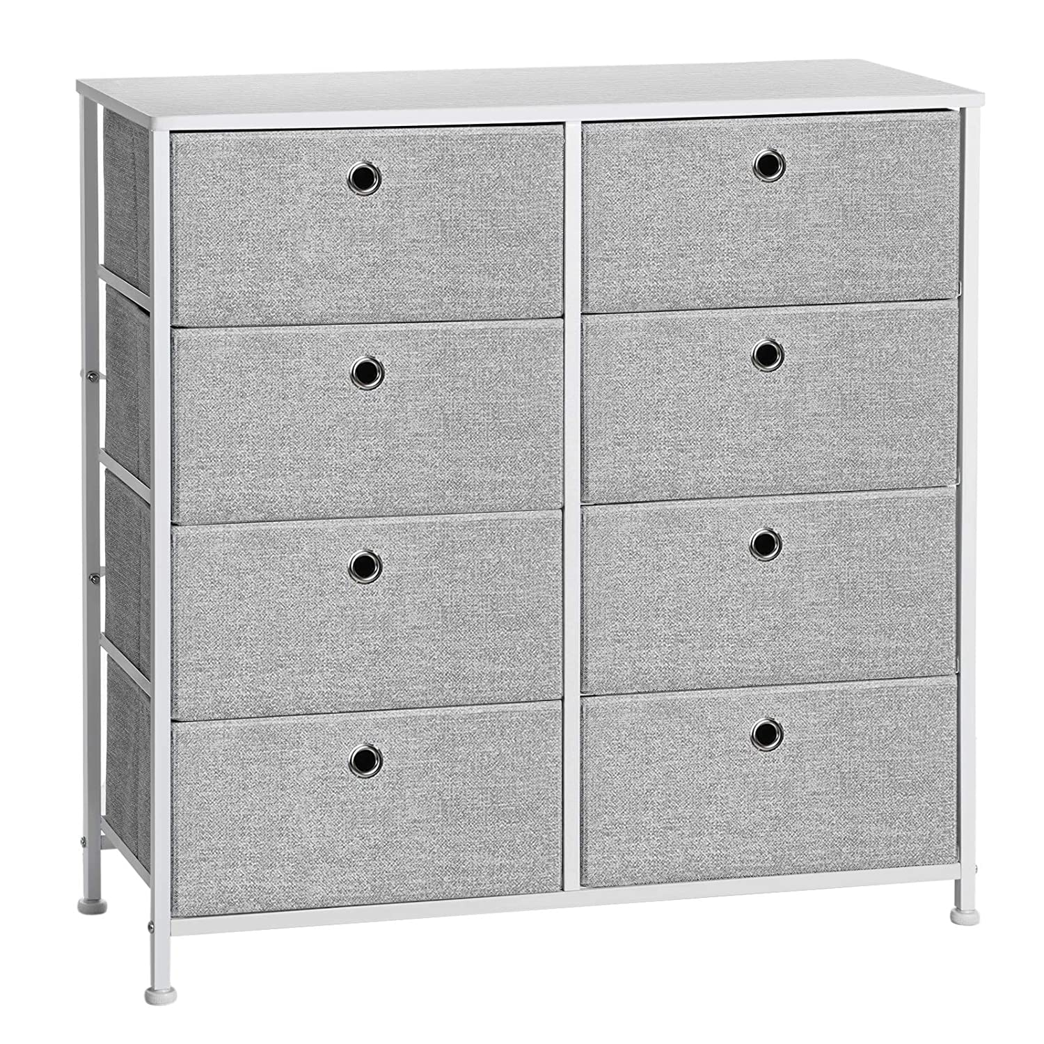 SONGMICS 4-Tier Storage Dresser with 8 Easy Pull Fabric Drawers and Wooden Tabletop for Closets, Nursery, Dorm Room, Light Gray and White ULTS24W -