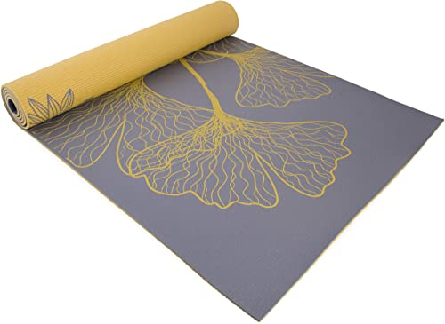 Cap Yoga Eco-Friendly High Resistance Dahlia Ginkgo Reversible Double Side Printed 5mm Yoga Mat