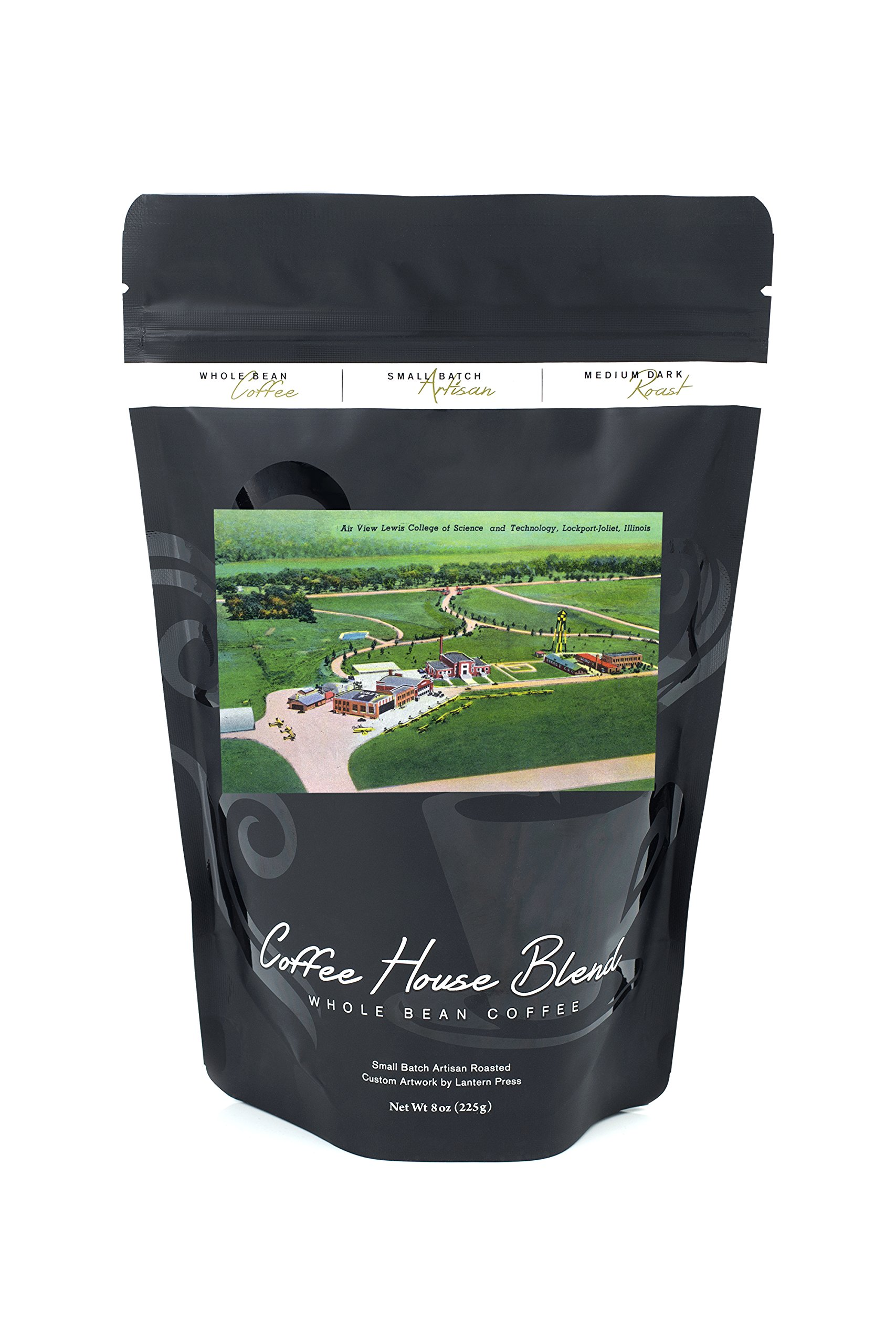 Lockport-Joliet, Illinois - Aerial View of the Lewis College of Science and Technology (8oz Whole Bean Small Batch Artisan Coffee - Bold & Strong Medium Dark Roast w/Artwork)