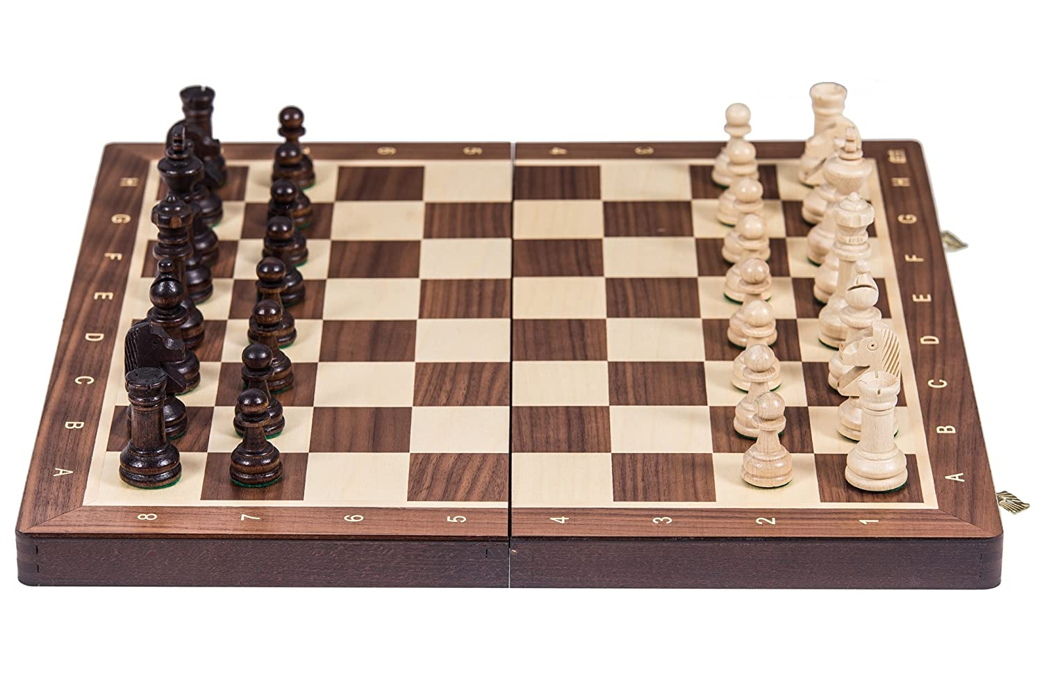 SQUARE  Wooden Chess Tournament No. 4  WALNUT  Chessboard & Chess Pieces
