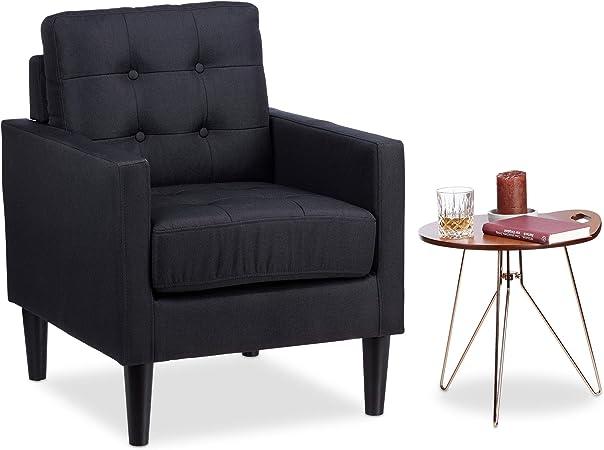 Relaxdays 10023219 Fauteuil Cocktail Retro années 50 Chaise Salon Vintage Lounge accoudoirs Coussin HxlxP: 86 x 67,5 x 74cm, Noir, 5 x 74 cm