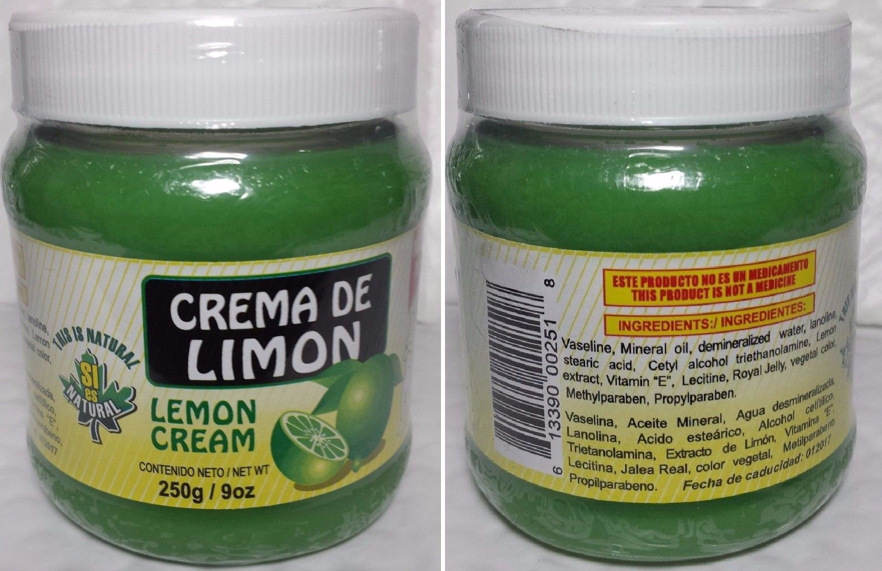 TOP Satisfied LEMON CREAM 9OZ CREMA REDUCTORA DE LIMON 250GR NATURAM3 X 01/2019 NEW