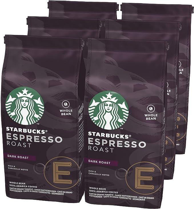 Starbucks 12411370 Espresso Dark Roast Café de Grano Entero de Tostado Intenso, 6 x Bolsa de 200g: Amazon.es: Alimentación y bebidas