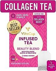 VitaCup Beauty Blend Infused Tea 14 ct |Keto|Paleo| Jasmine Herbal Rooibos Caffeine Free Tea with Collagen Types I & III, Bio