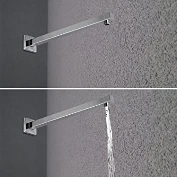 artbath 16 inch square extra long straight shower arm with flange solid shower arm extension
