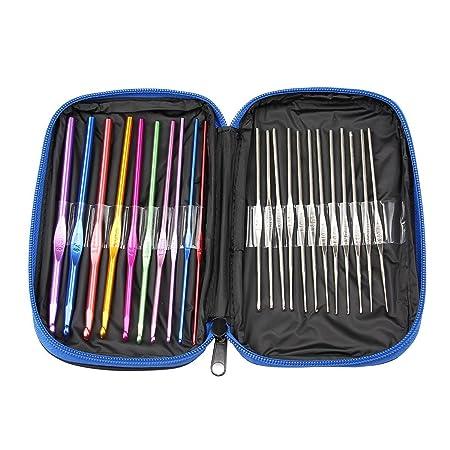 Hilai 22 piezas ganchos para crochet con básculas agujas de ganchillo y 6 piezas agujas grandes: Amazon.es: Hogar