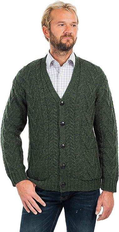 Mens V Neck Cable Cardigan (Army Green, Medium) at Amazon Men's Clothing store