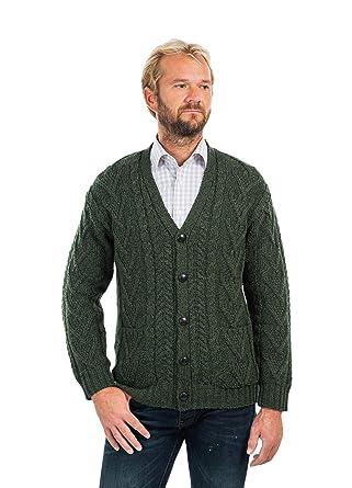 de8e7f84c7983 SAOL 100% Irish Merino Wool Men's Aran Cable Knit V Neck Casual ...