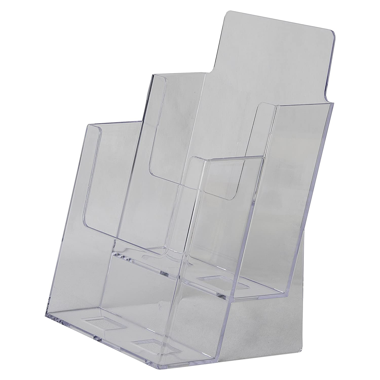 Amazon Clear Ad LHF S112 Acrylic Slant Back 2 Tier 2 Pocket Bifold Brochure Holder 6x9 Perfect to Display Booklets Catalogues Pamphlets