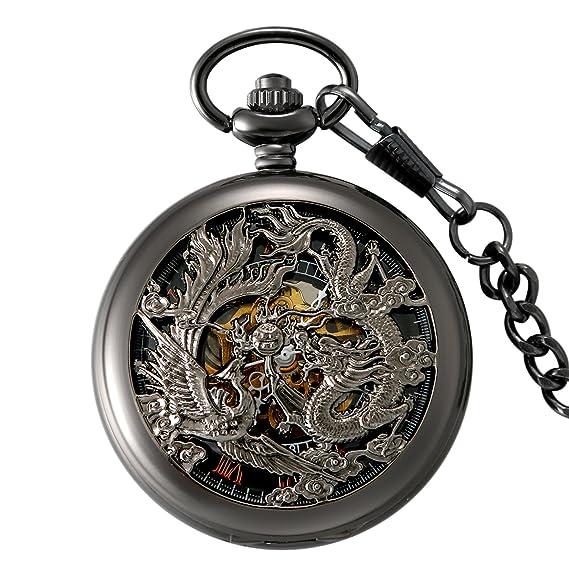 665383425726 LANCARDO Reloj de Bolsillo Mecánico de Cuerda Manual Cubierta de Dragón  Phoenix Dial Números Romanos 12