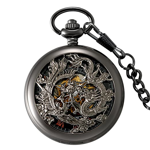 LANCARDO Reloj de Bolsillo Mecánico de Cuerda Manual Cubierta Forma de Engranajes Collar de Suéter Retro