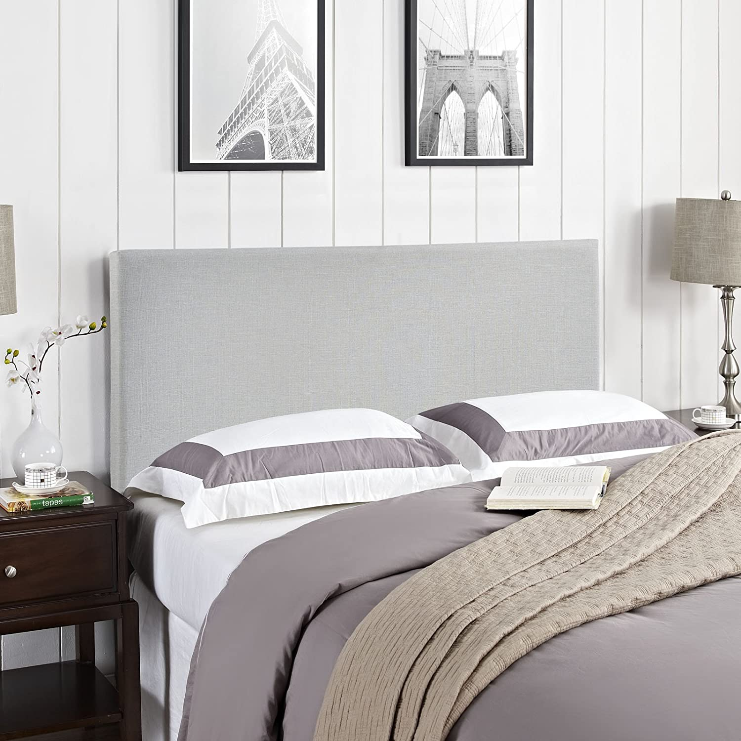 Amazon.com - Modway Region Upholstered Linen Headboard Queen Size In Sky  Gray -