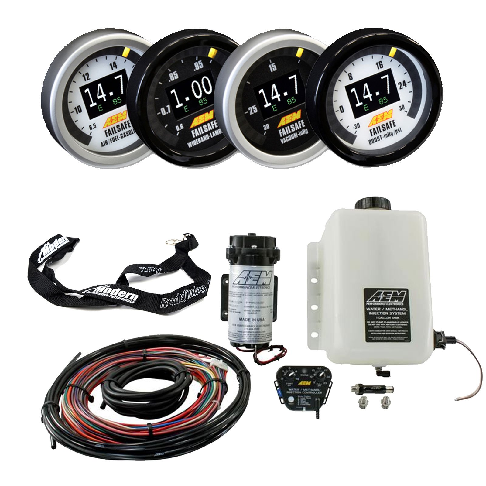 AEM Water Methanol Injection Kit & 52mm Flex Fuel Failsafe Gauge with Sensor & MAPerformance Lanyard