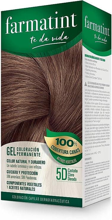 Farmatint 5D Castaño Claro Dorado. Tinte permanente. Cabello natural y color duradero. Sin amoníaco ni parabenes ni parafinas ni siliconas.