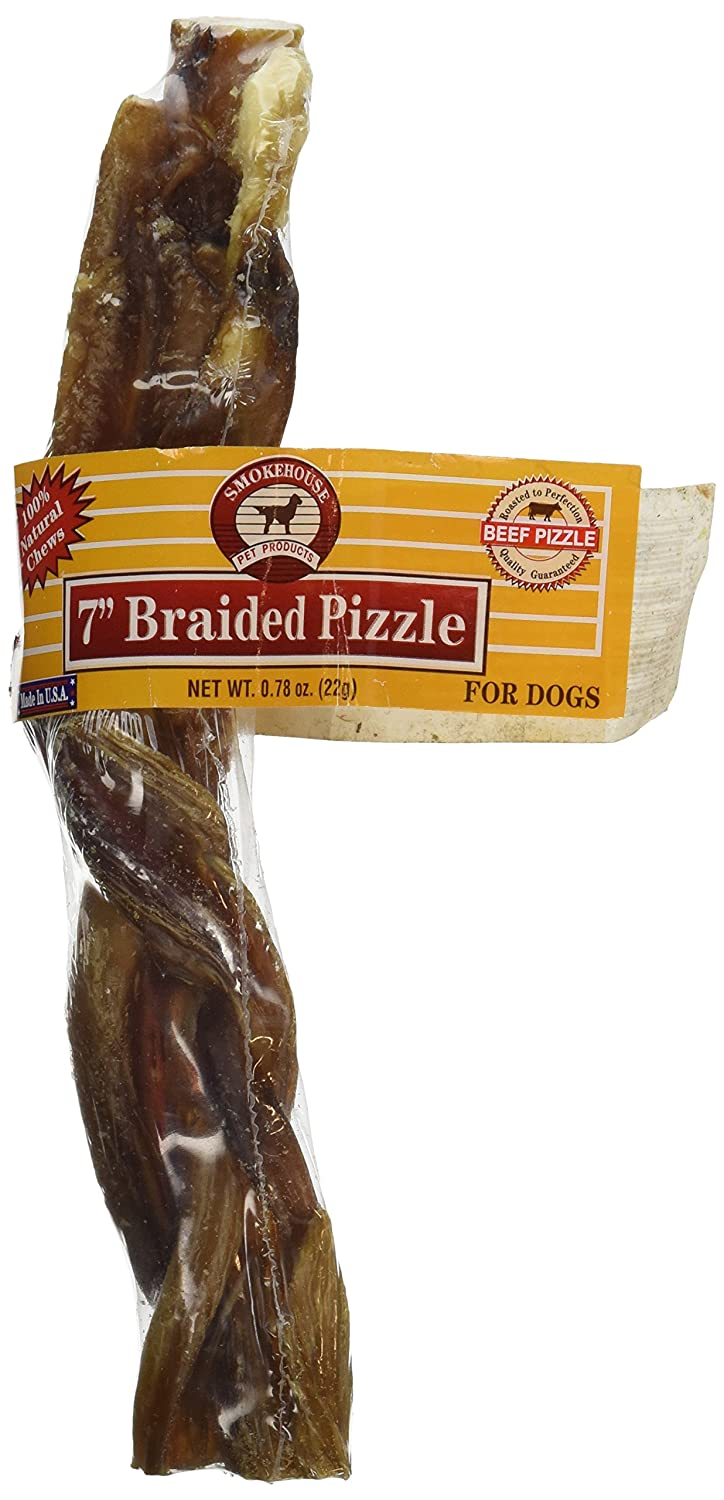 Smokehouse Pet Products DSM84195 Braided Pizzle Dog Treat Stick 7-inch