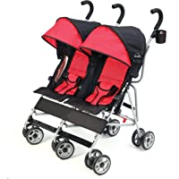 Kolcraft Cloud Lightweight and Compact Double Umbrella Stroller, Red/Black