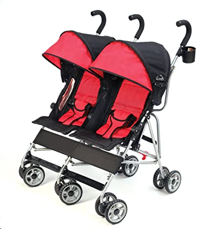 Kolcraft Cloud Double Umbrella Stroller Lightweight and Compact, Easy Fold, Reclining Seats with Padded 3-Point Safety Harness and Roll-Up Seat Backs, Parent Cup Holder, Expandable Canopies, Red