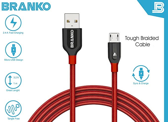 Branko Micro USB Cable   Nylon Braided Tough Micro USB Cable with charging speeds up to 2.4Amps  Red