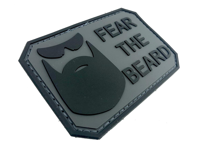 Parche Fear The Beard Negra Gris PVC Paintball Airsoft
