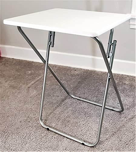 5 STAR SUPER DEALS Portable Foldable TV Tray Table Deluxe – Laptop, Eating, Drawing Tray Table Stand with Adjustable Tray with Sliding Adjustable Cup Holder White