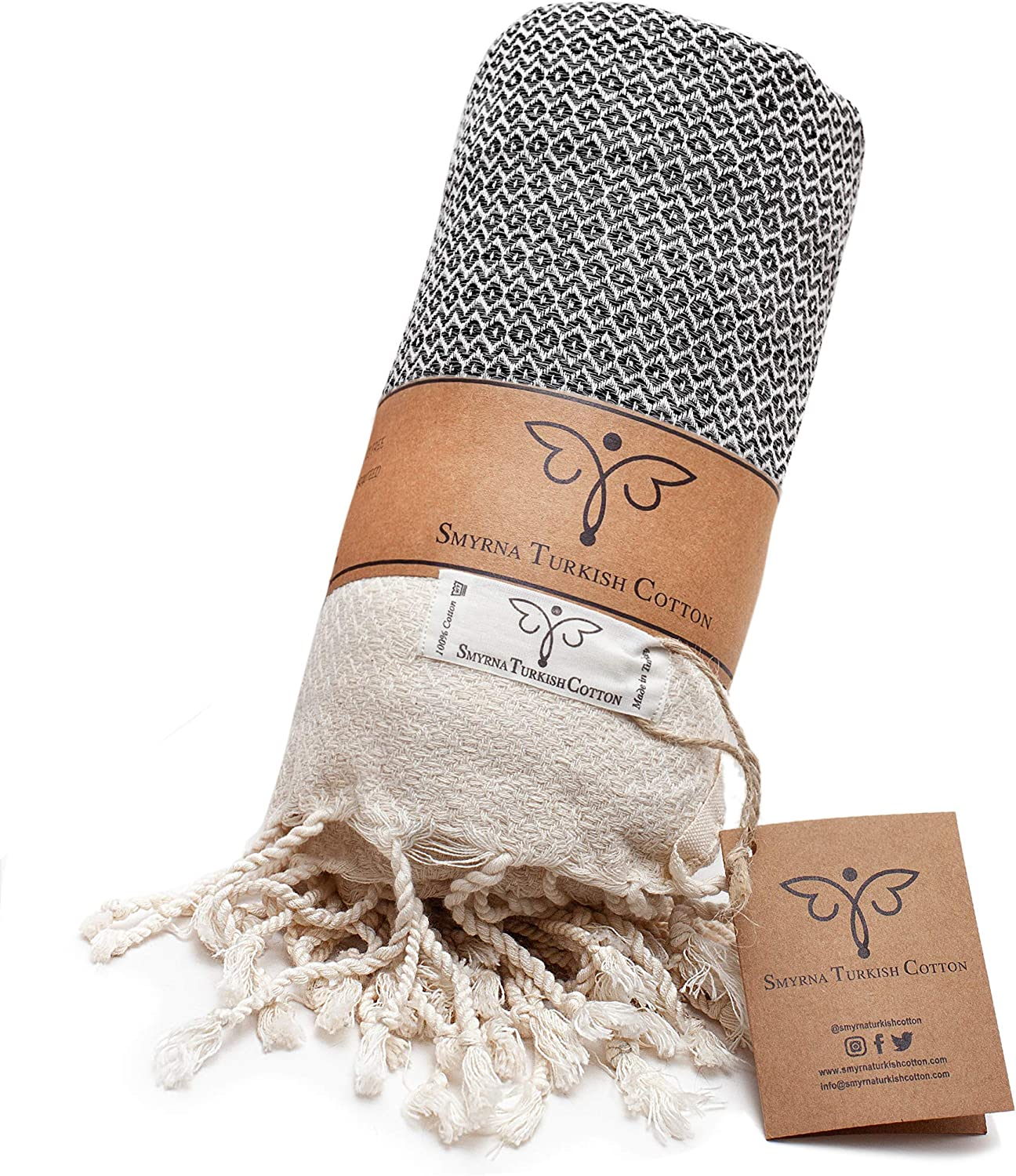 Smyrna Original Turkish Throw Blanket | 100% Cotton, 50 x 60 Inches | Vintage Decorative Boho Throw Blankets for Couch, Sofa, Bed, Farmhouse and Home Decor | Lightweight and Super Soft (Dark Gray)