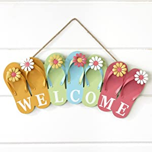 The Lakeside Collection Wooden Flip Flop Welcome Sign - Nautical Beach House Porch Accent