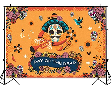 Mehofoto Day Of The Dead Backdrop Mexican Sugar Skull Photography Background 7x5ft Vinyl Halloween Skulls Party
