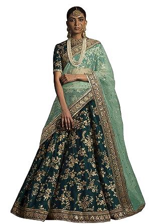 2a42e3c7ed Rozy Fashion Women's Raw Silk Bridal Lehenga Choli with Heavy Lace Work on  Dupatta (RF811