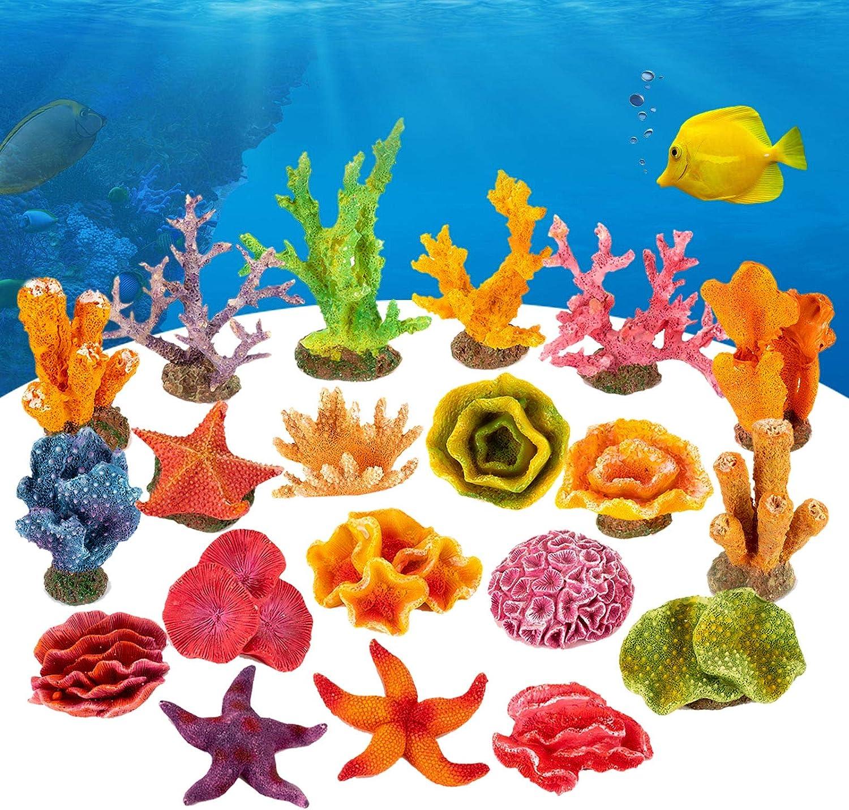AQQA Aquarium DIY Fish Tank Decoration,20 PCS Mini Artificial Resin Coral/Castle Ornament Set,Eco-Friendly Safe and Harmless for Freshwater Saltwater