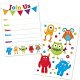 cute monster birthday party invitations for kids 20 count with envelopes - Monster Birthday Party Invitations