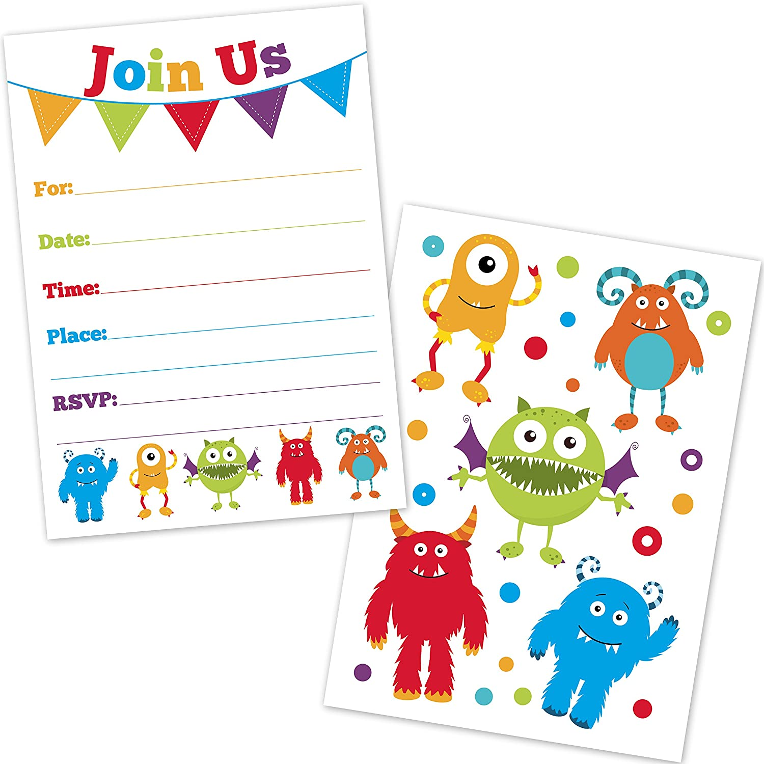 Amazon.com: Cute Monster Birthday Party Invitations for Kids - (20 ...