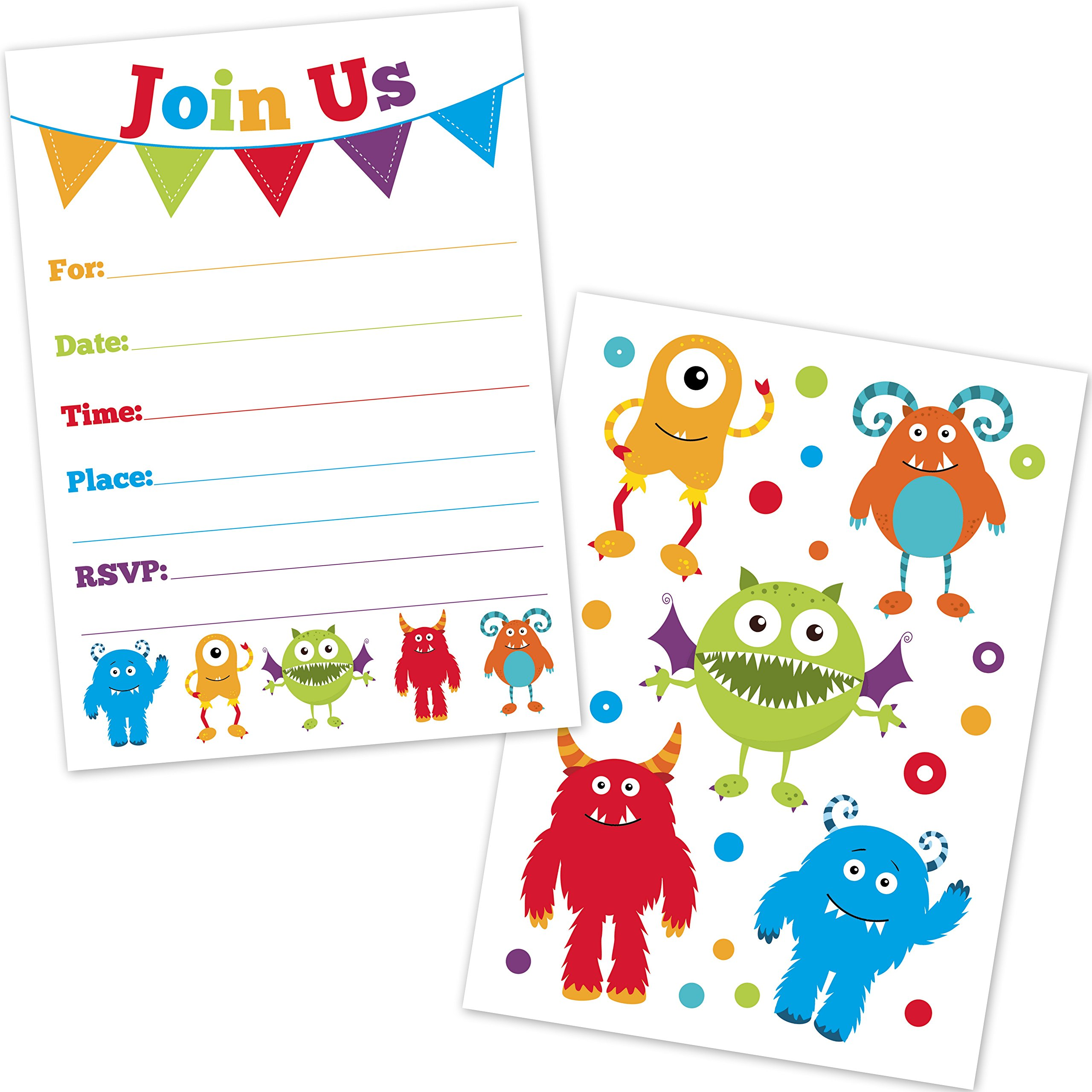 Cute Monster Birthday Party Invitations for Kids - (20 Count with Envelopes) - First Birthday Invites for Boys and Girls - Monster Party Supplies by Old Blue Door Invites (Image #1)