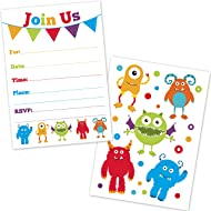 Cute Monster Birthday Party Invitations for Kids - (20 Count with Envelopes) - First Birthday Invites for Boys and Girls - Monster Party Supplies