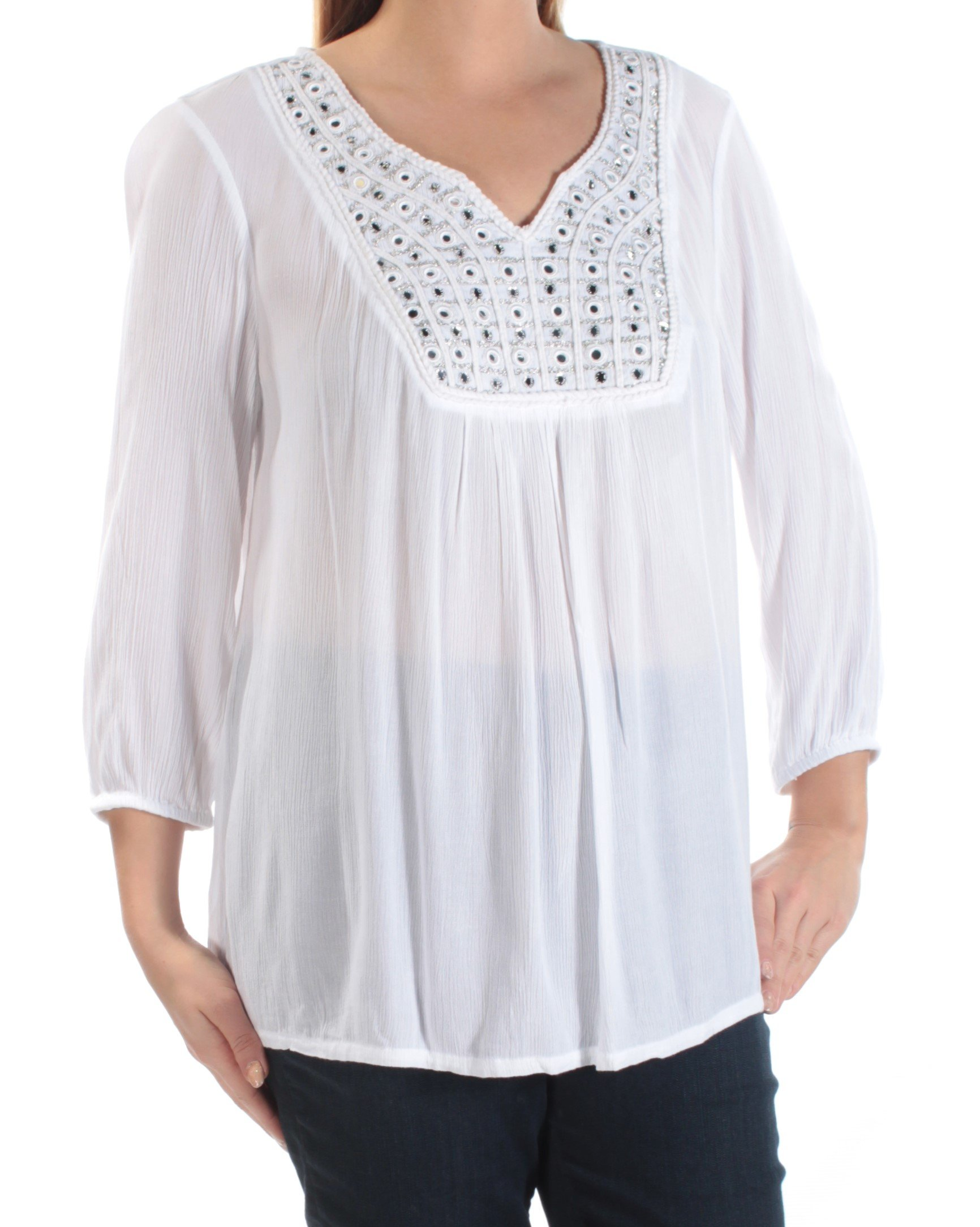 Style & Co.. Womens Petites Metallic Embellished Peasant Top White PL