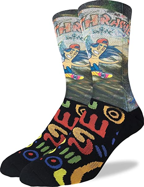 Good Luck Sock Mens Skateboarder Crew Socks - Black, Adult Shoe Size ...