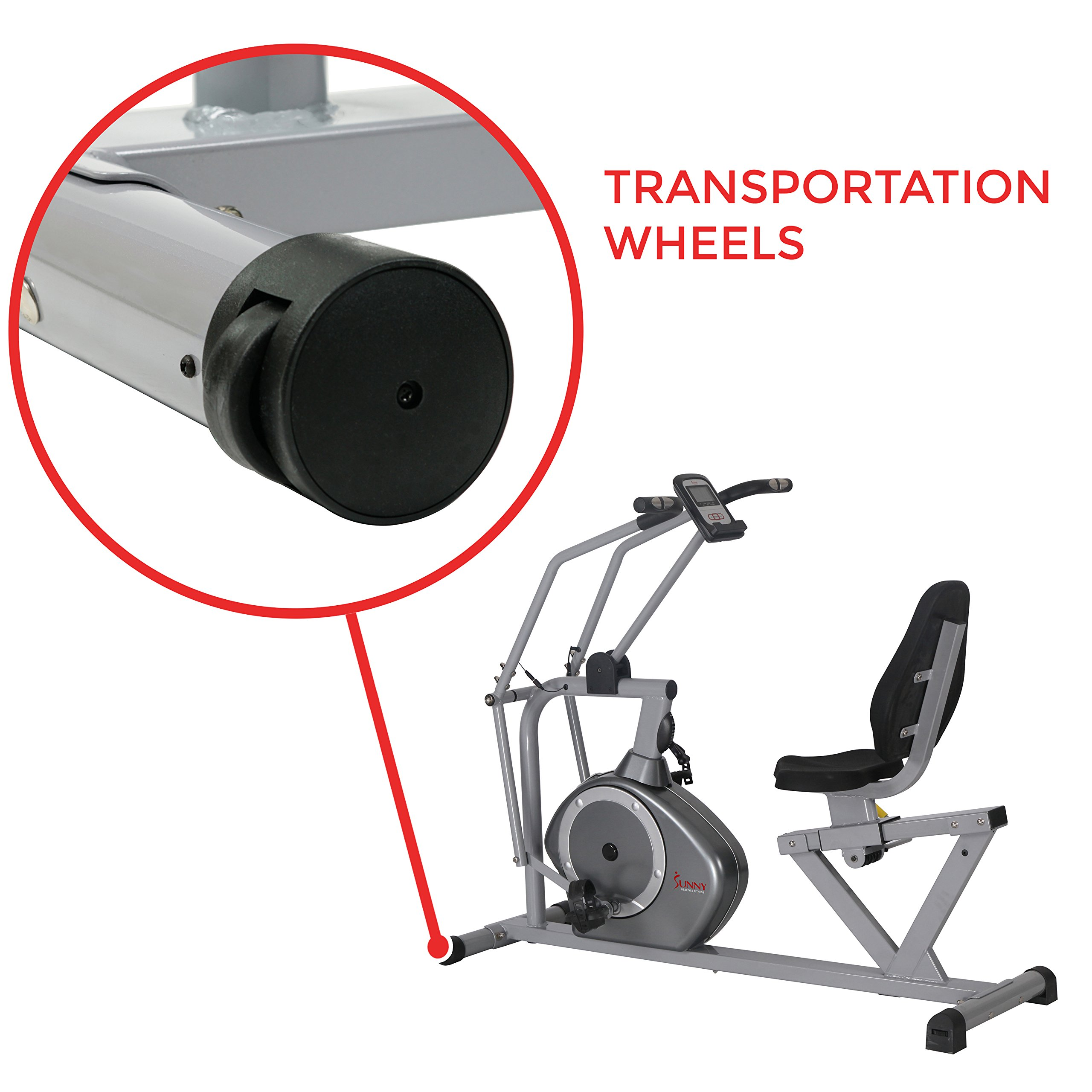 Sunny Health & Fitness Magnetic Recumbent Bike Exercise Bike, 350lb High Weight Capacity, Cross Training, Arm Exercisers, Monitor, Pulse Rate Monitoring - SF-RB4708 by Sunny Health & Fitness (Image #9)