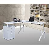 WestWood L-Shaped Computer Desk With 3 Drawers PC Table Home Office Furniture Study Gaming Desktop Workstation Morden Large FH-CD04 Lilac Not Pure White
