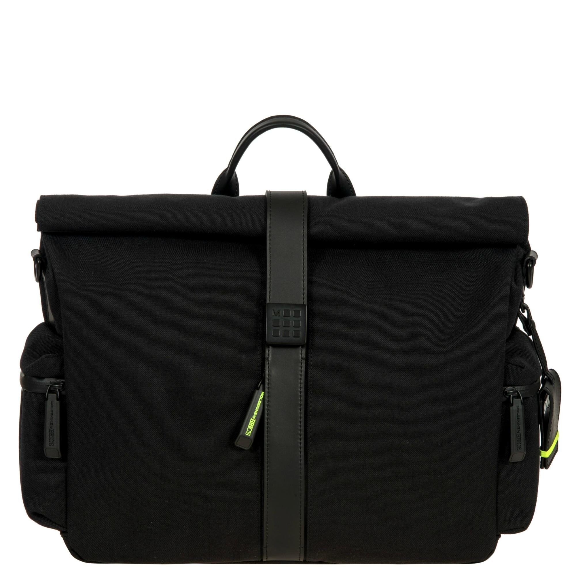 Bric's Men's Moleskine Roll-Top Tablet Business Laptop Messenger Bag, Black, One Size