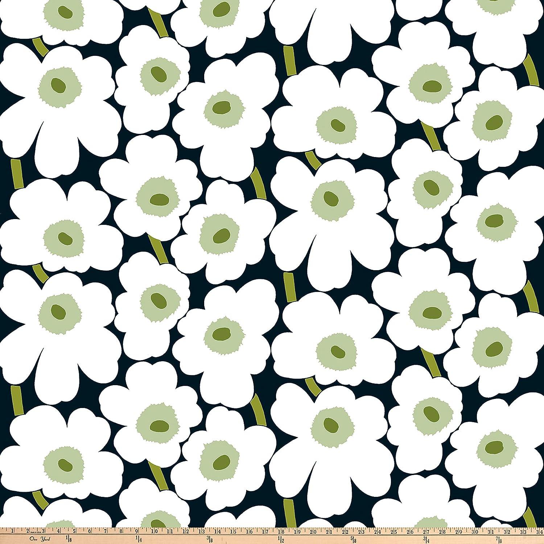 396c7b8be89 Amazon.com: Marimekko Pieni Unikko Cotton Fabric, Black/White/Green, Fabric  By The Yard