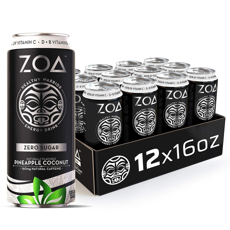 ZOA, Zero Sugar Energy Drink, Pineapple Coconut, 16 fl. oz. (Pack of 12) - Supports Healthy Immunity, Focus, Hydration, Body & Energy - 100% DV Vitamins C, B6 & B12