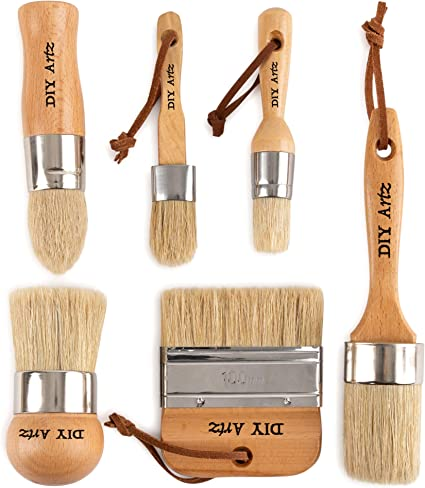 pintura de leche y cera para plantillas y pintura de muebles del hogar Juego de pinceles de tiza Juego de 2 brochas de pintura