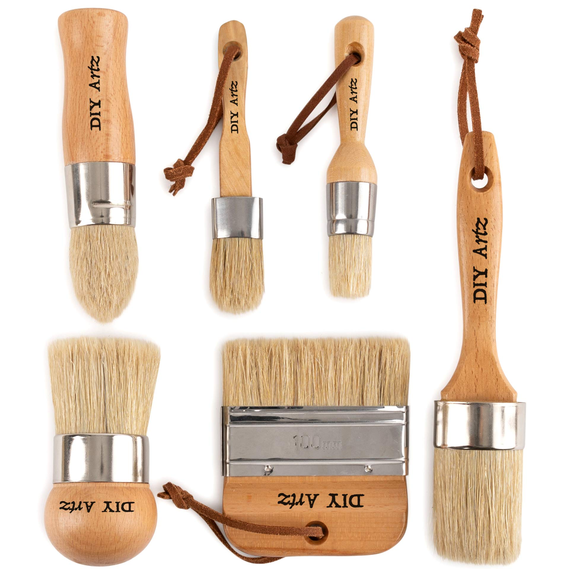 DIYARTZ Chalk & Wax Paint Brush (Set of 6) for Waxing & Painting Projects – 100% Natural Boar Bristles, Ergonomic Handles, Minimum Shedding – Smooth Coverage for Furniture, Milk Paint & Stencil