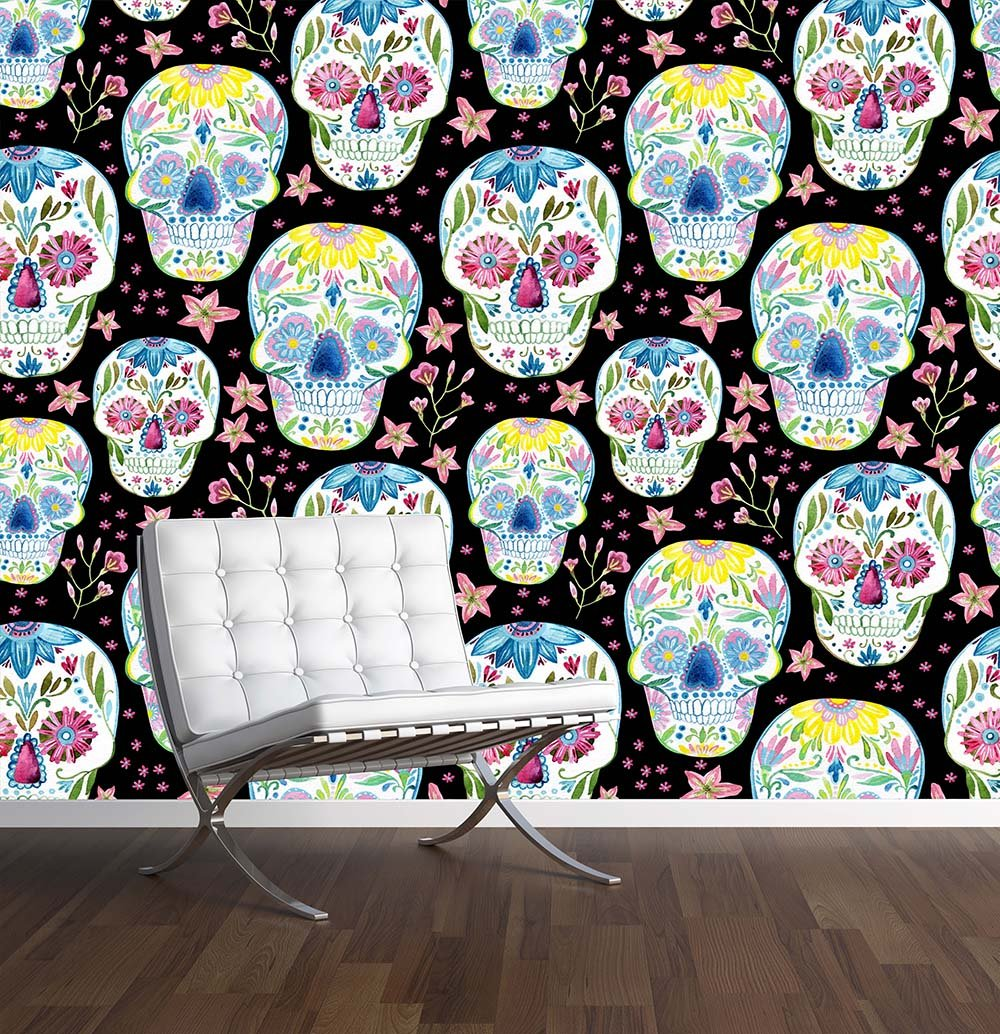 Sugar Skull Wall Mural Photo Wallpaper Mexican Day Of The Dead Large 1500mm X 1150mm Amazoncouk Kitchen Home