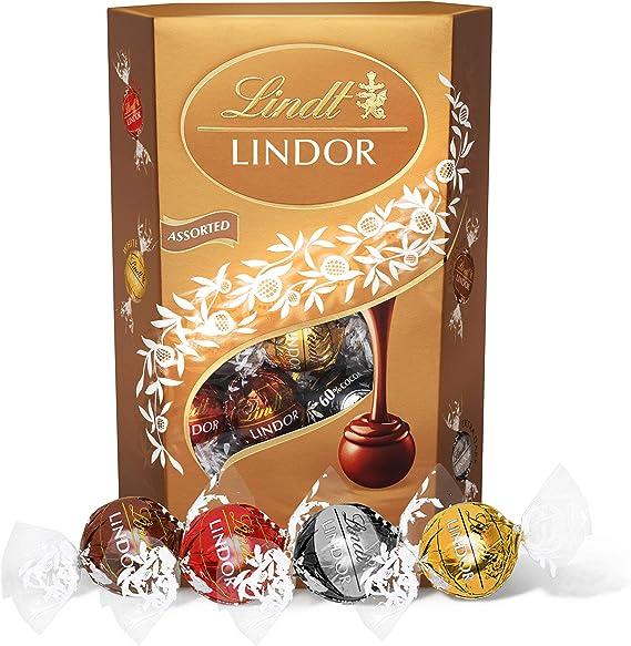 Lindt Lindor Milk Chocolate Truffles Box Approximately 26 Balls 337 G Perfect For Gift Assortment Of Milk White Extra Dark Hazelnut